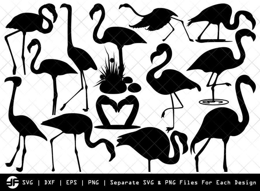 Flamingo Svg Cut File Flamingle Bird Silhouette Bundle Etc Craft